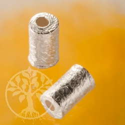 Brushed silverbead cylinder 6 mm