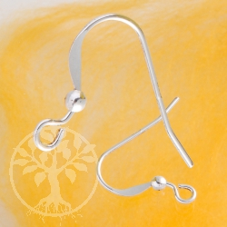 Ear hook flat with silverbead 2.0mm light weight