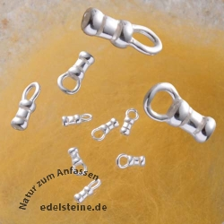 Cast Crimp Endcap with silver ring, silver925 1.2mm ID