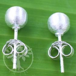 Kugel Ohrstecker 925 Silber 5mm matt gebürstet