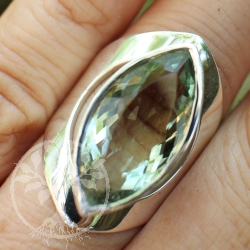 Silver Ring with faceted Prasiolith-Amethyst-Gemstone