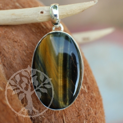 Tigers Eye sterling silver oval big