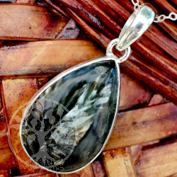 Astrophyllit Tropfen Sterling Silberanhänger 925