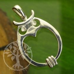 Owl shiny sterling silver pendant 925