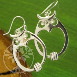 Owl round eye Sterling Silver 925 Earrings
