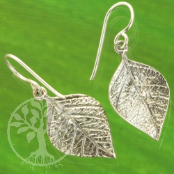 Linden leaf earrings sterling silver 925