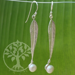Pearl Earrings Long Sterling Silver Leaf 925