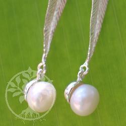 Perlen Ohrringe Langes Silberblatt Silber 925