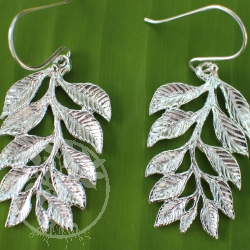 Earrings sterling silver leaves branch 925
