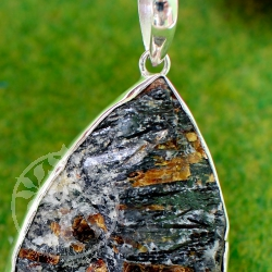 Astrophyllite rough stone pendant sterling silver 925