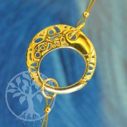 Ring Karabiner Verschluss glanz Ornament 18mm Silber vergoldet