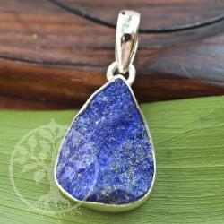 Unpolished lapis lazuli gemstone pendant 925 sterling silver