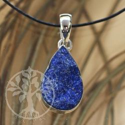 Lapis lazuli 925 silver pendant matte ink blot
