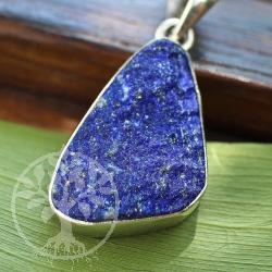 Unpolished lapis lazuli gemstone pendant 925 sterling silver Starry Night