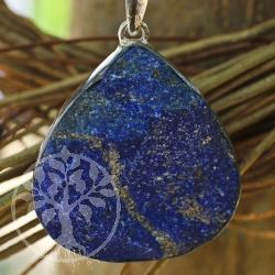 Natural lapis lazuli 925 silver pendant silver lining