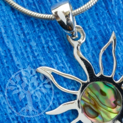Colorful sun pearl pendant in sterling silver 925