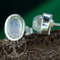 Moonstone stud earrings 9x6mm oval pair
