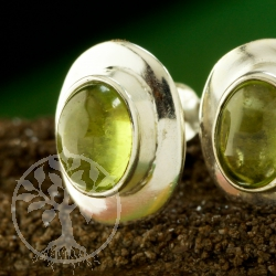 Peridot earrings with a wide silver frame