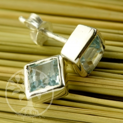 Topas Blue stud earrings square sterling silver 925