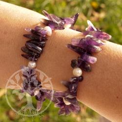 Amethyst mit Perlen Armband Mahaba