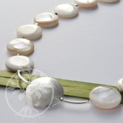Unique mother of pearl sterling silver 925 necklace single piece