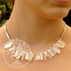 Rock crystal pearl 925 sterling silver designer chain