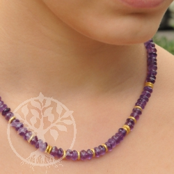 Amethyst necklace with sterling silver plated closure