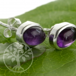 Amethyst Stud Earrings 9x6mm oval with silver setting