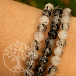 Tourmaline Quartz sleek gemstone bracelet beads 6mm