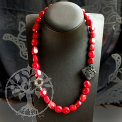 Coral necklace with square Lava and Sterling Silver Clasp 925