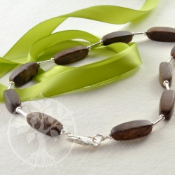 Bronzite Sterling Silver 925 necklace with crocodile