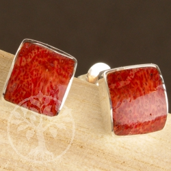 Coral Sterling Silver Stud Earrings domed square