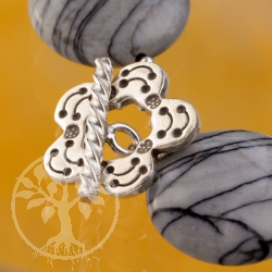 Toogle Clasp Flower Sterling Silver 18mm