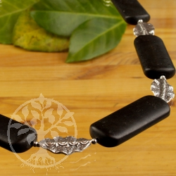 Onyx Necklace Sterling silver floral leaf 925 unique