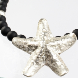 Onyx Necklace Sterling Stilber Starfish 925 unique