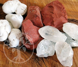 Rough stone mixture 1 Magnesite, Crystal and Red Jasper 250 gr.