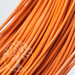 Leather string ribbon goat round 1,5 mm orange