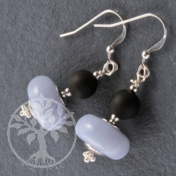 Blue Lace Agate with Onyx Beads Earrings Silver 925