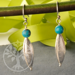 Turquoise Earrings Silver925 Long Bead No49