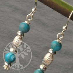Turquoise Earrings Silver925 2 Bead No51