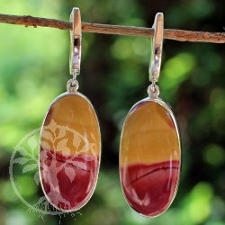 Mookaite earrings 925 silver single piece 1summer breeze