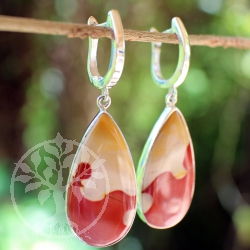 Mookaite silver drop earrings
