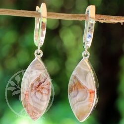 Agate earrings 925 sterling silver single piece dreamcatcher