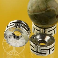 Flache Silber Perle Meander Silberperle 8 mm