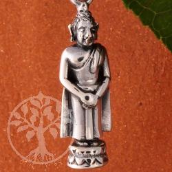 Gautama Buddha als Silberanhänger stehend 26 mm 925