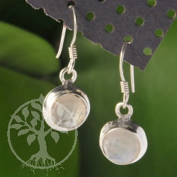 Rainbow Moonstone Silver Earring round gemstone 6mm