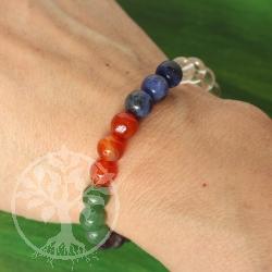 Chakra  Armband 8mm Edelstein Perlen in den Farben der Chakren aus Edelsteinen