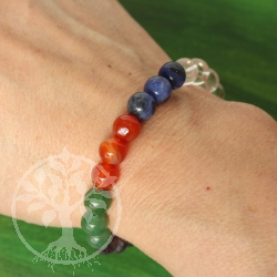 Chakra Farben Edelstein Armband 8mm Perlen