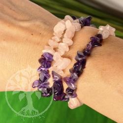 Rosenquarz mit Amethyst Armband aus Edelsteinperlen