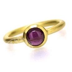 Amethyst Ring Vergoldet Silber925 runder Cabochons AM64